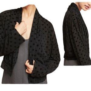 ett:twa anthropologie black polka dot wrap jacket